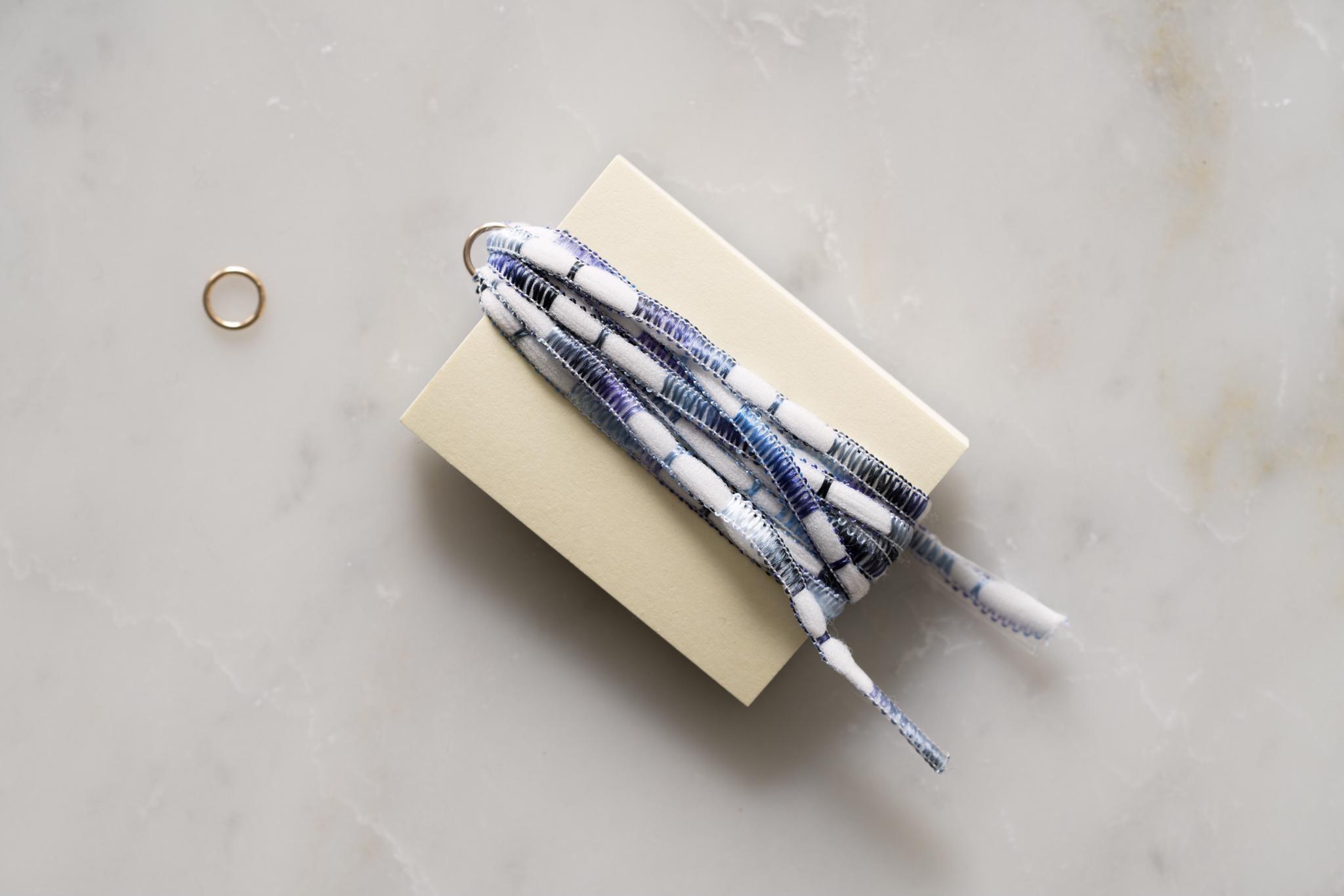タッセルフリンジの作り方(3)-丸カンに紐を通しながら台紙に紐を巻きます