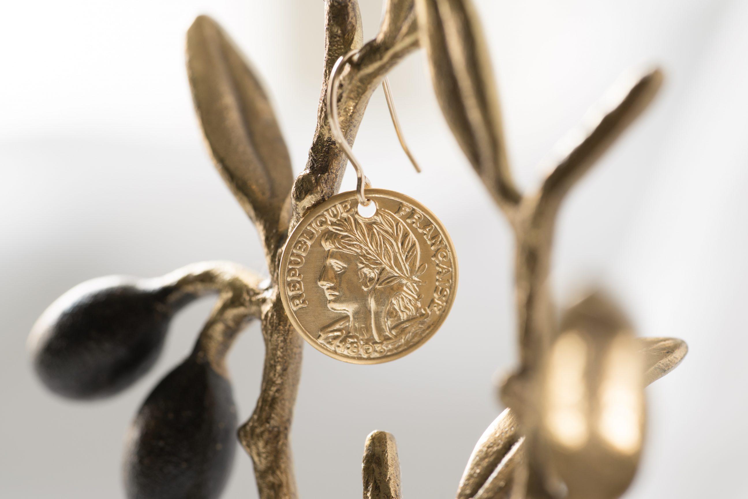 14kgfピアス金具×真鍮ブラス製コインチャーム(マットゴールド)