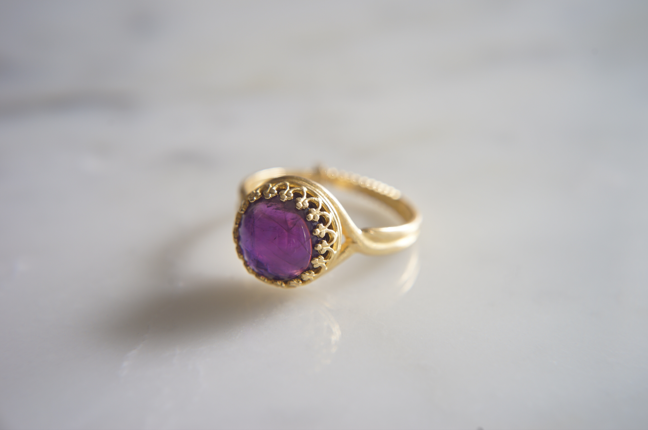 真鍮(ブラス)製 アメジスト指輪