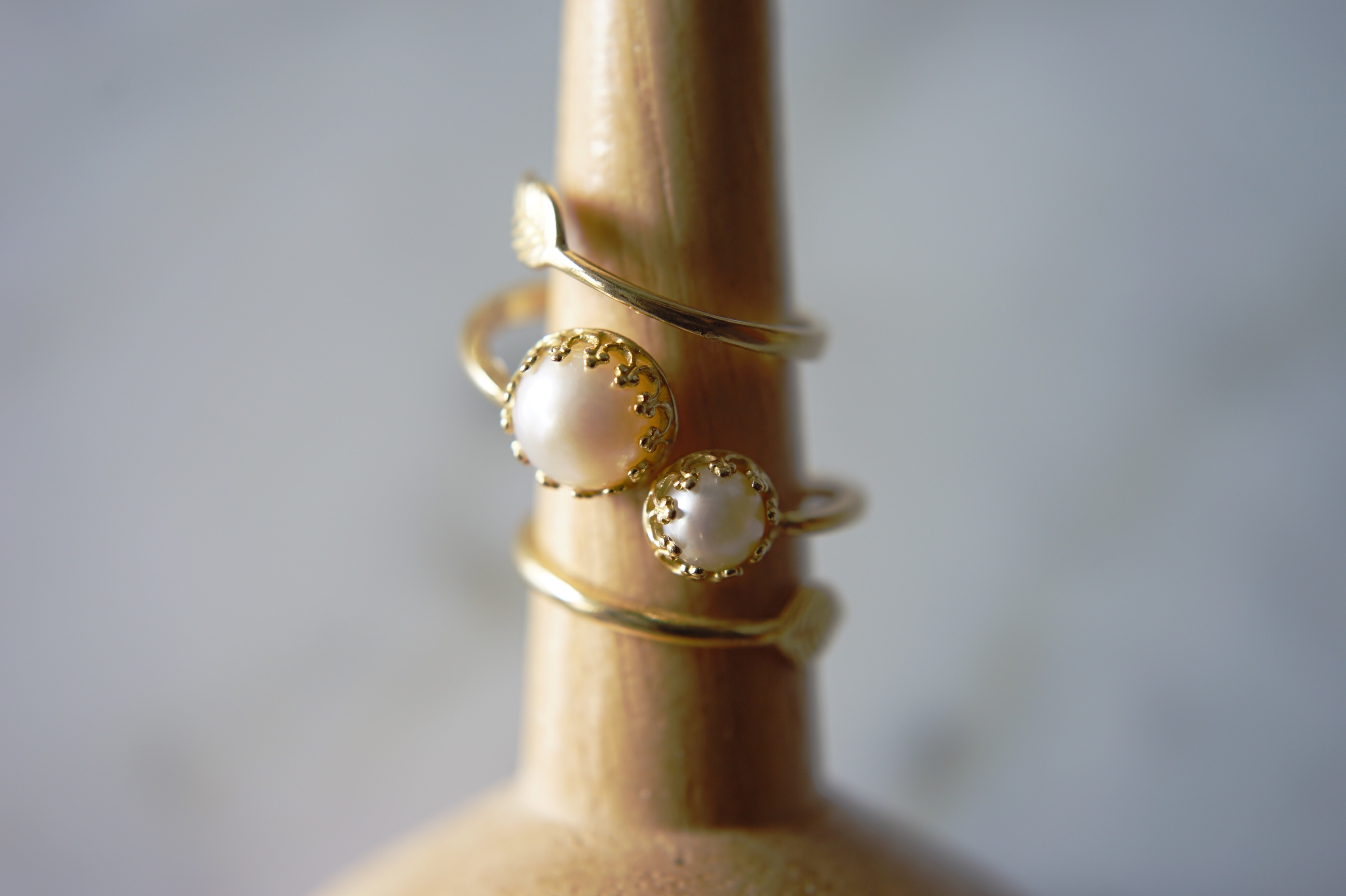 brass pearl ring