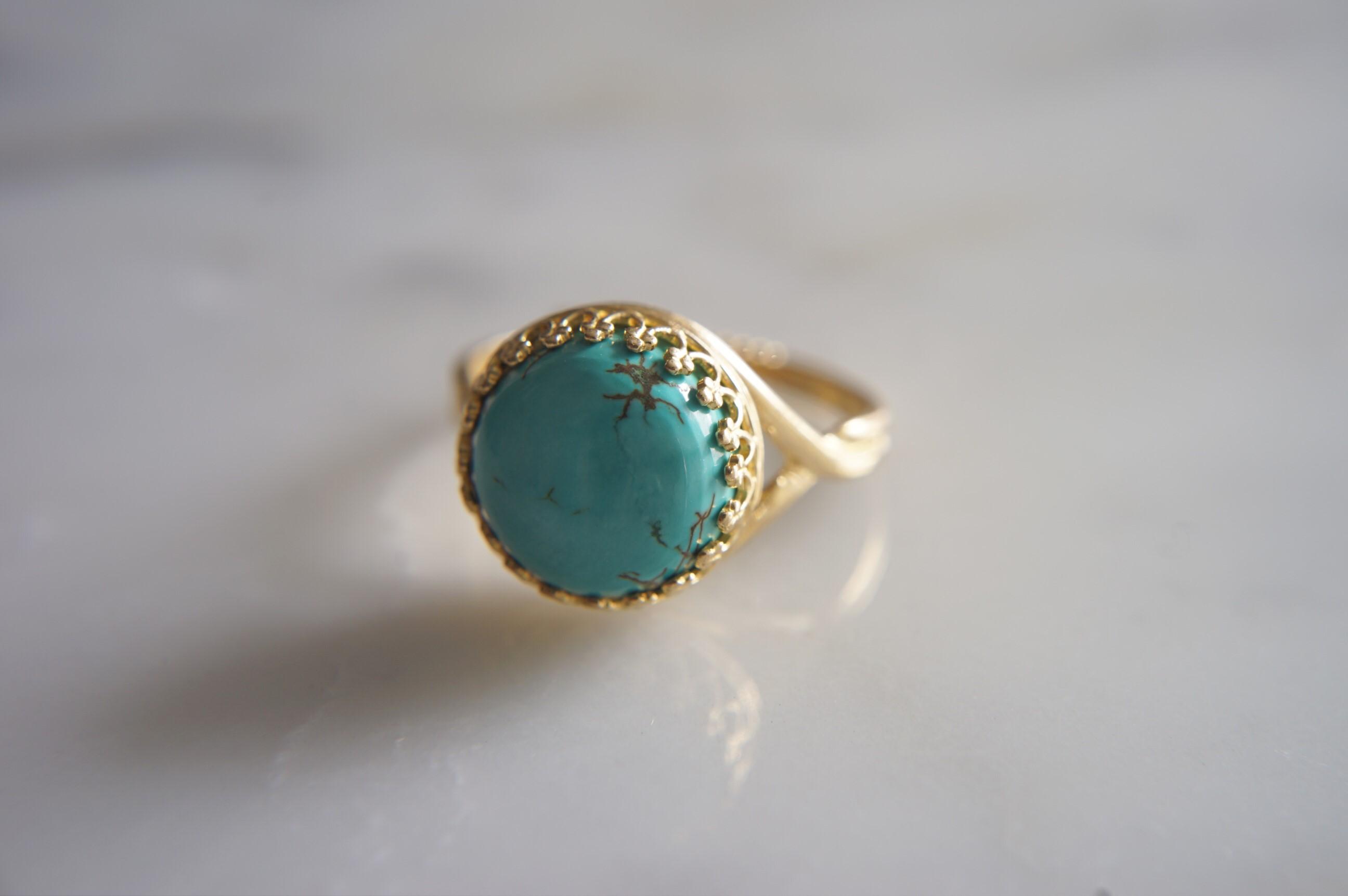真鍮(ブラス)製 ターコイズ指輪