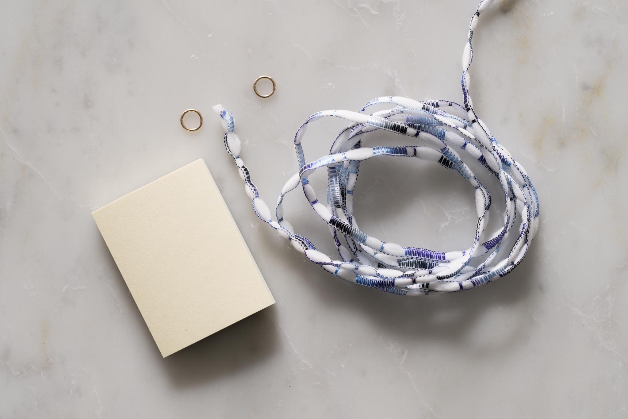 タッセルフリンジの作り方-材料のリントン社ファンシーヤーンと丸カン(クローズド)