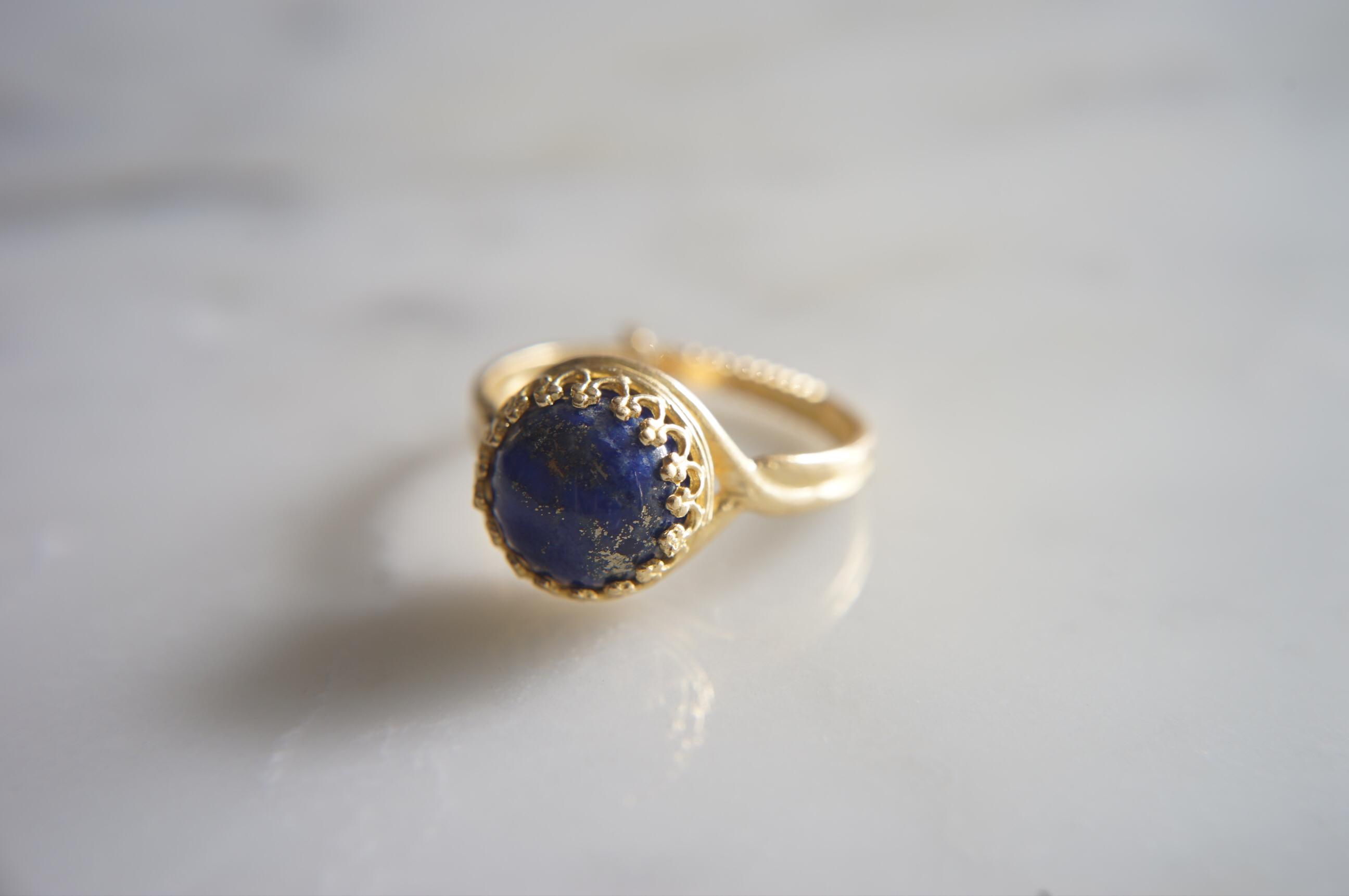 真鍮(ブラス)製 ラピス指輪
